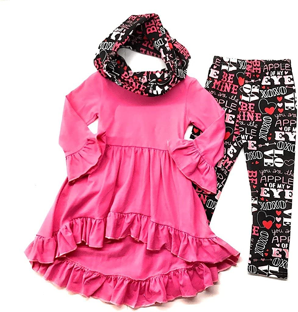 Baby Girl Toddler Girl Valentines Day Outfit Infinity Scarf Boutique Set Bundle Leggings 3/4 Sleeve