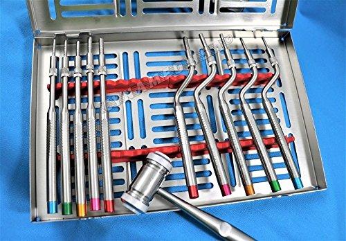 New Premium German Grade Sinus Lift Osteotomes Kit Straight Off Set Concave Mead Mallet Cassette Dental-A