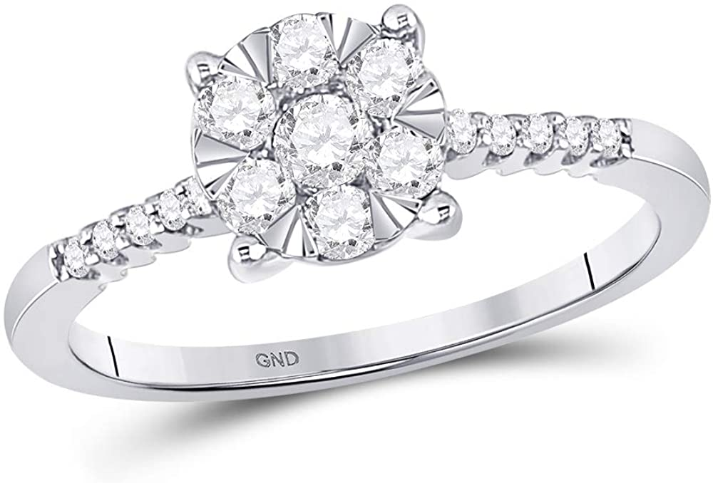 TheDiamond Deal10kt White Gold Womens Round Diamond Flower Cluster Ring 1/2 Cttw