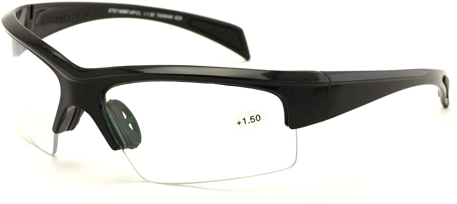 Bifocal Protective Safety Glasses with Anti Slip Nose Pad and Temples Tinted Readers Sunglasses Ansi Z87.1