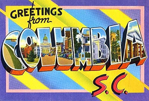 Greetings from Columbia, South Carolina - 1930's - Vintage Postcard Poster