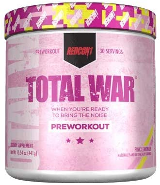 Redcon1 Total War - Pre Workout, 30 Servings, Boost Energy, Increase Endurance and Focus, Beta-Alanine, 350mg Caffeine, Citrulline Malate, Nitric Oxide Booster - Keto Friendly (Pink Lemonade)