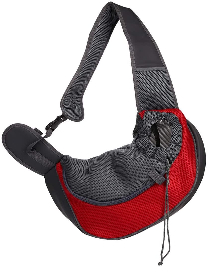 BAOZOON Pet Dog Sling Carrier Breathable Mesh Travel Safe Shoulder Bag Hands Free Side Carrier Tote for Dogs Cats