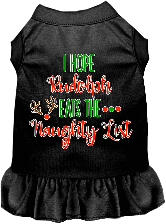 Mirage Pet Product Hope Rudolph Eats Naughty List Screen Print Dog Dress Black XL