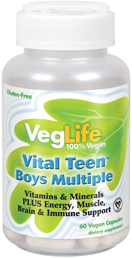 VegLife Vital Teen Boys Multiple Veg Cap, 60 Count