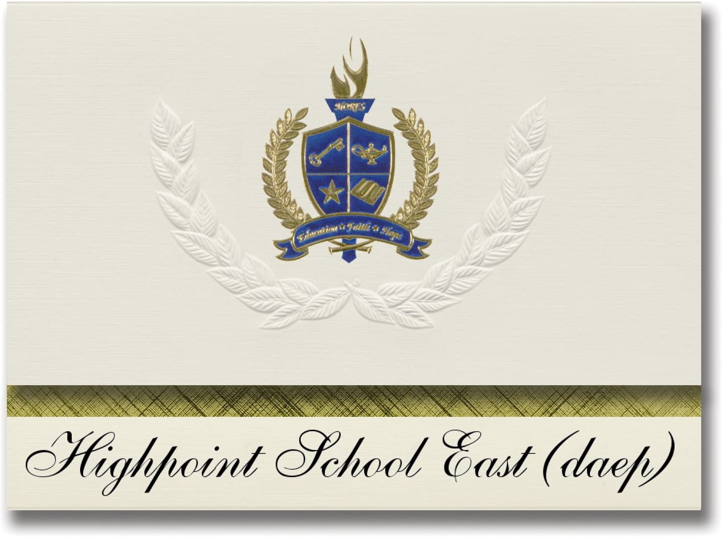 Signature Announcements Highpoint School East (daep) (Houston, TX) Graduation Announcements, Presidential style, Elite package of 25 with Gold & Blue Metallic Foil seal