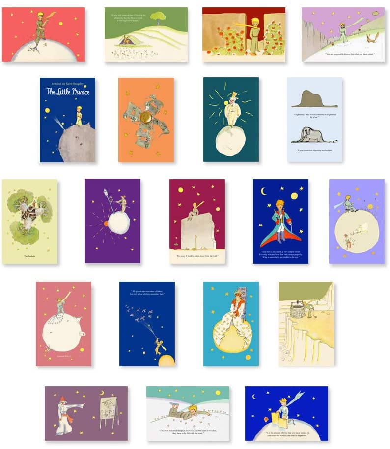 LITTLE PRINCE postcard set of 20 postcards. Children's book illustrations by Antoine de Saint-Exupéry post card pack. Made in USA.
