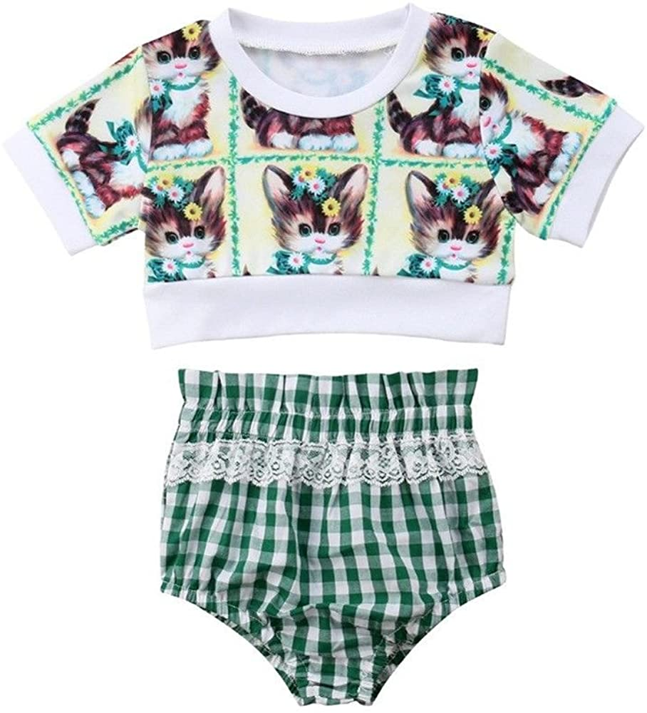 Baby Girls Short Sleeve Cats Printed T-Shirt Tops+Plaid Lace Shorts Outfits