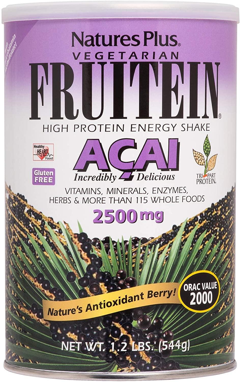 NaturesPlus Fruitein Acai High Protein Energy Shake- 1.2 lbs, Vegetarian Powder -Antioxidants, Vitamins, Minerals, Enzymes, Herbs & Whole Foods - Non-GMO, Gluten-Free - 16 Servings