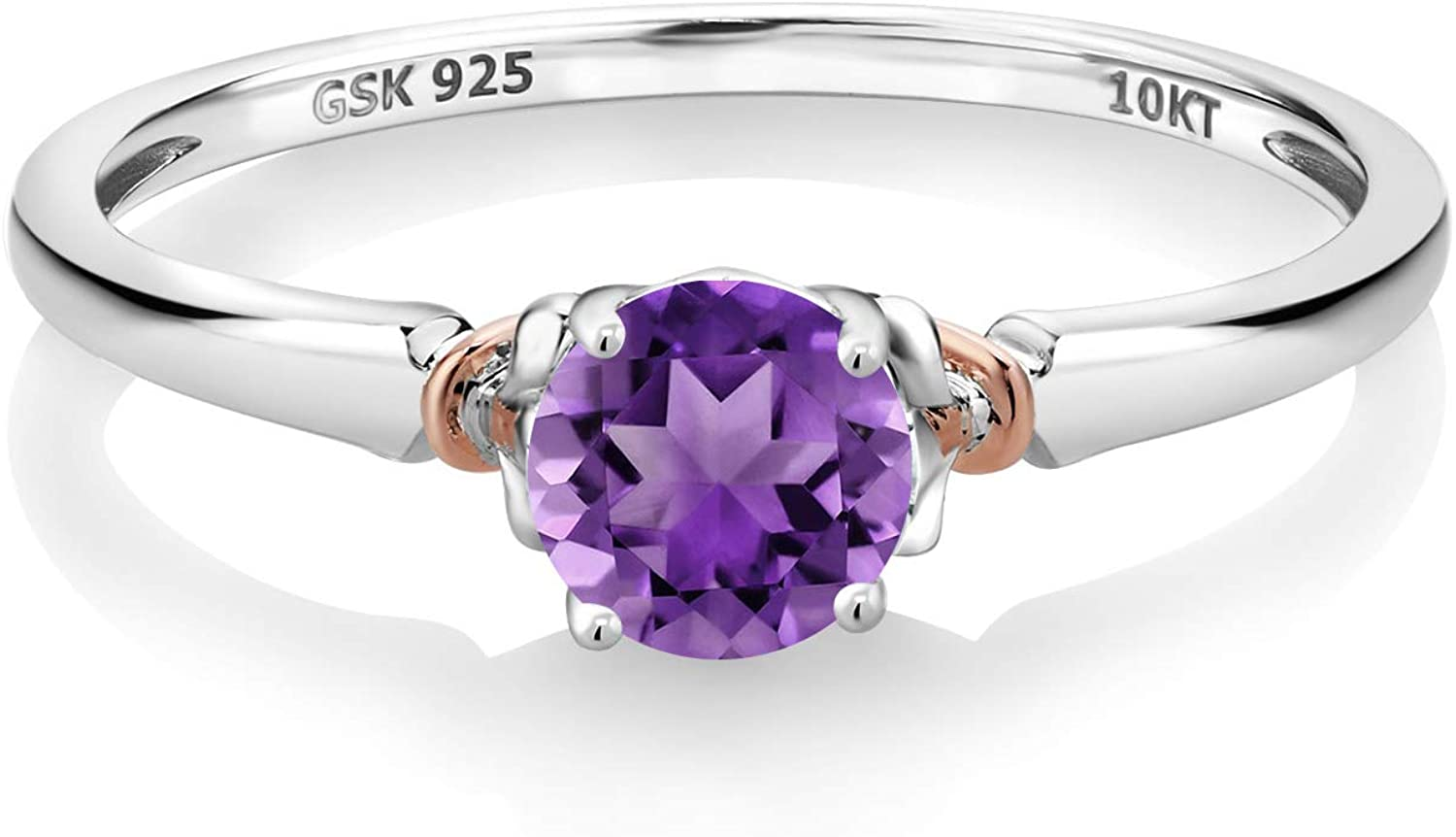Gem Stone King 925 Silver and 10K Rose Gold Engagement Ring 0.48 Ct Round Purple Amethyst