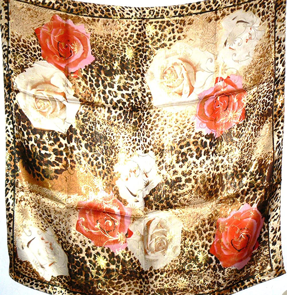 silksalon Large 100% Charmeuse Silk Scarf Shawl Wrap Gold Thread Leopard Rose A174