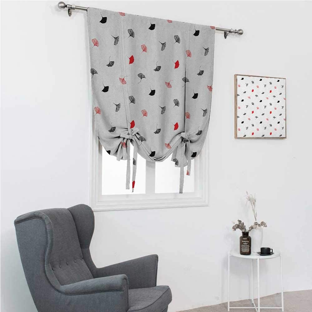 GugeABC Patio Door Curtains Leaf Roman Window Shades for Window Red and Black Ginkgo Leaves Scattered on White Background with Minimalist Style 48
