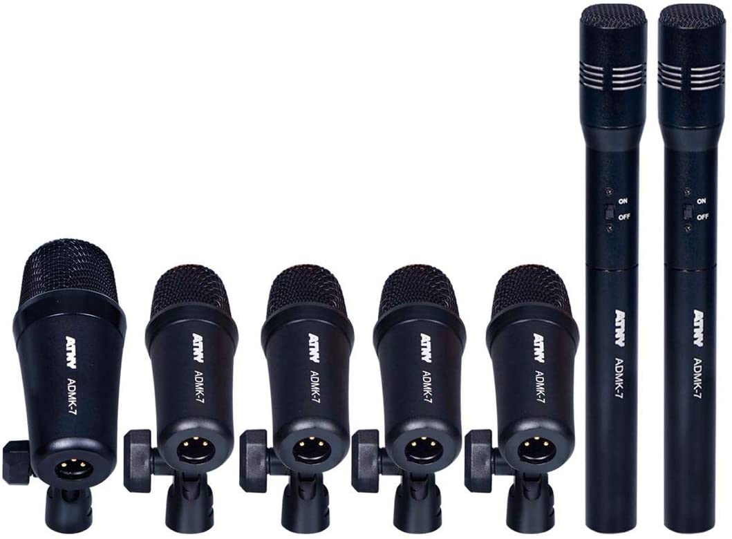 ATNY ADMK7 Supercardioid Dynamic Instrument Microphone - Pro 7-Piece Wired Dynamic Drum Mic Kit - Kick Bass, Tom - Snare & Cymbals Microphone Set (7-Piece Wired Dynamic Drum Mic Kit, Black)