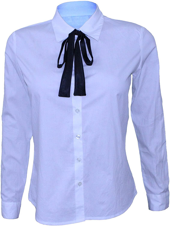 Attuendo Women's Cotton Button Down Shirt with Satin Neck Tie