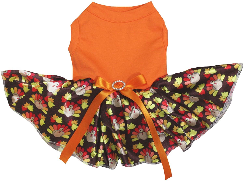 Petitebella Orange Shirt Brown Turkeys Tutu Puppy Dog Dress
