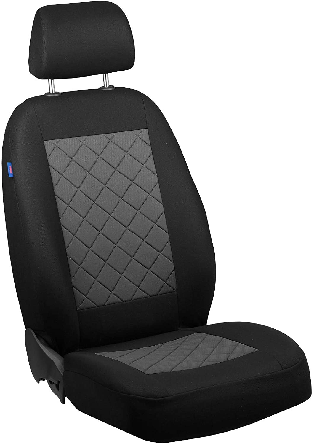 Zakschneider Car seat Cover for Albea - Driver Seat - Color Premium Black with Grey Quilted Squares