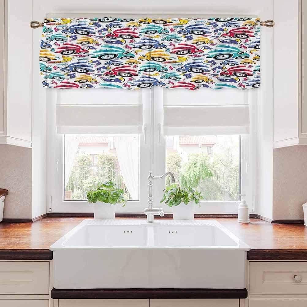 Modern Bathroom Window Curtain, Vintage Cartoon Style Rainbow Vivid Colorful Cars Kids Children Nursery Theme, 56