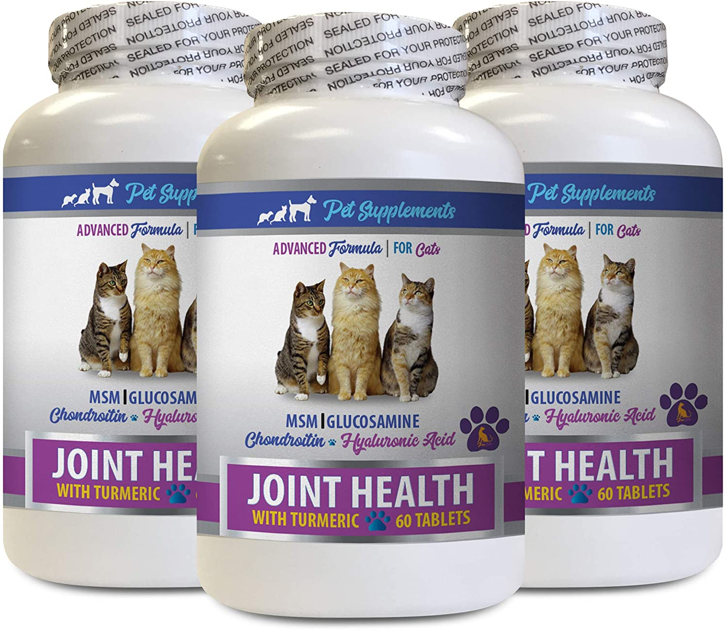 cat Joint Treats - Joint Pain Supplement cat - CAT Joint Health with Turmeric MSM - glucosamine chondroitin for Cats - 3 Bottles (180 Treats)