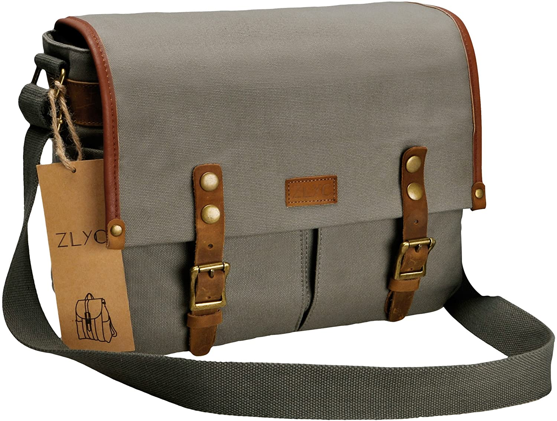 Canvas Camera Bag ZLYC Leather Trim Camera Case Waterproof DSLR Pouch Vintage Laptop Messenger Shoulder Purse for Women Men, Gray
