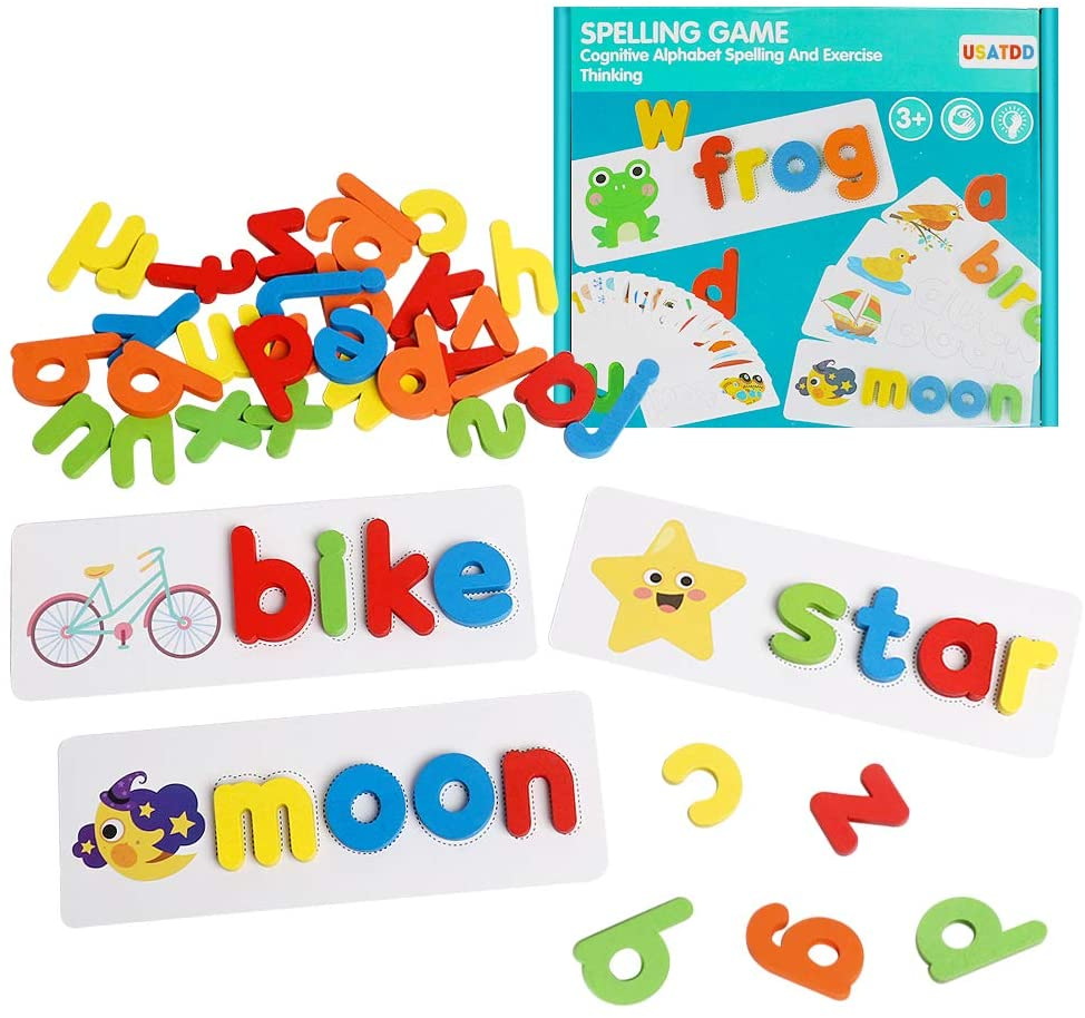USATDD See Spell Learning Toys Wooden Letter ABC Alphabet Sight Words Flash Cards Matching Shape Puzzles Montessori Preschool Educational STEM Toys for Kids Toddlers Boys Girls Age 3 4 5 6 Years Old