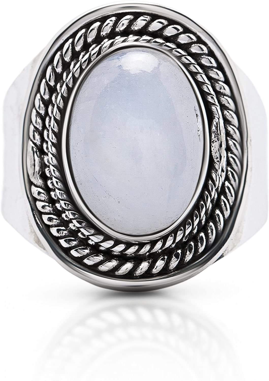 Koral Jewelry Oval Moonstone Gipsy Vintage Ring 925 Sterling Silver US Size 7 8 9 10