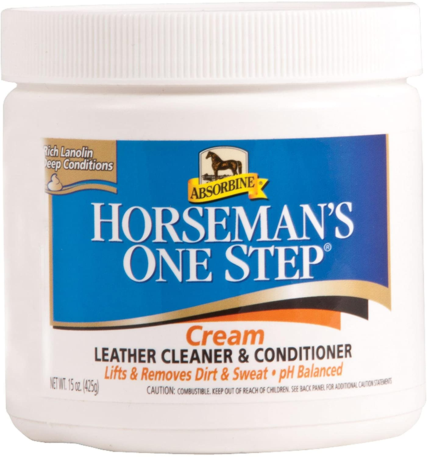 Absorbine 15 Oz Horseman's One Step Leather Cleaner and Conditioner Cream That Removes Dirt, Sweat and Salt