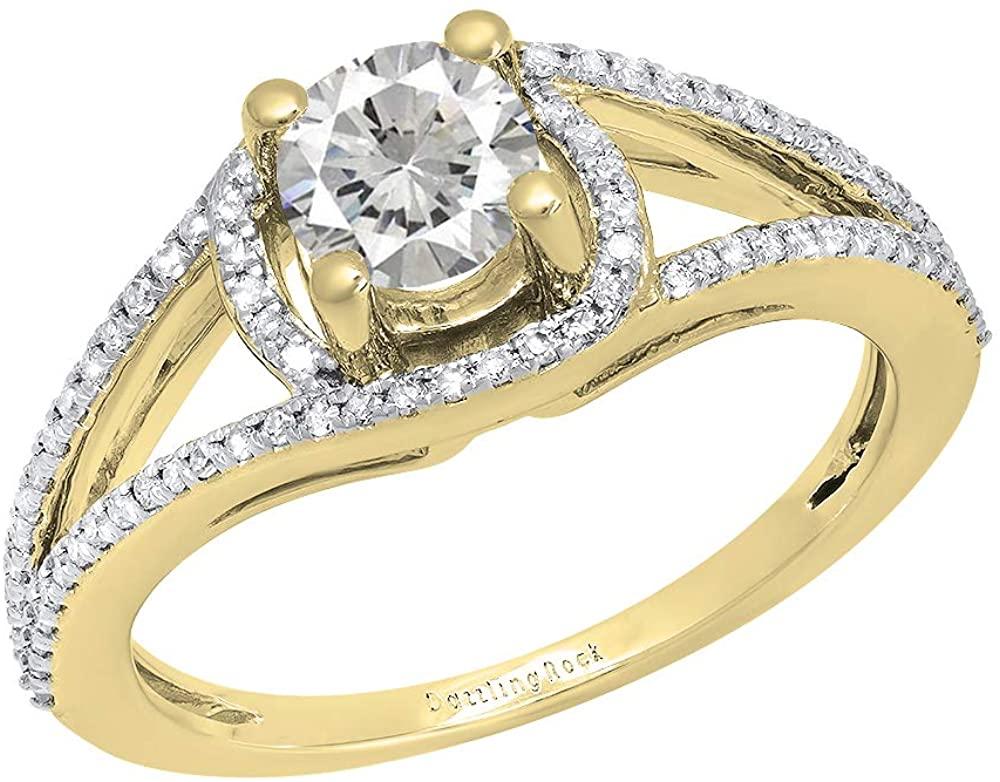 Dazzlingrock Collection 5.6 MM Round Lab Created Gemstone & Natural White Diamond Ladies Bridal Split Shank Engagement Ring, 14K Yellow Gold