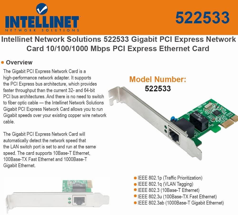 Intellinet 522533 Network Solutions Gigabit PCI Express Network Card