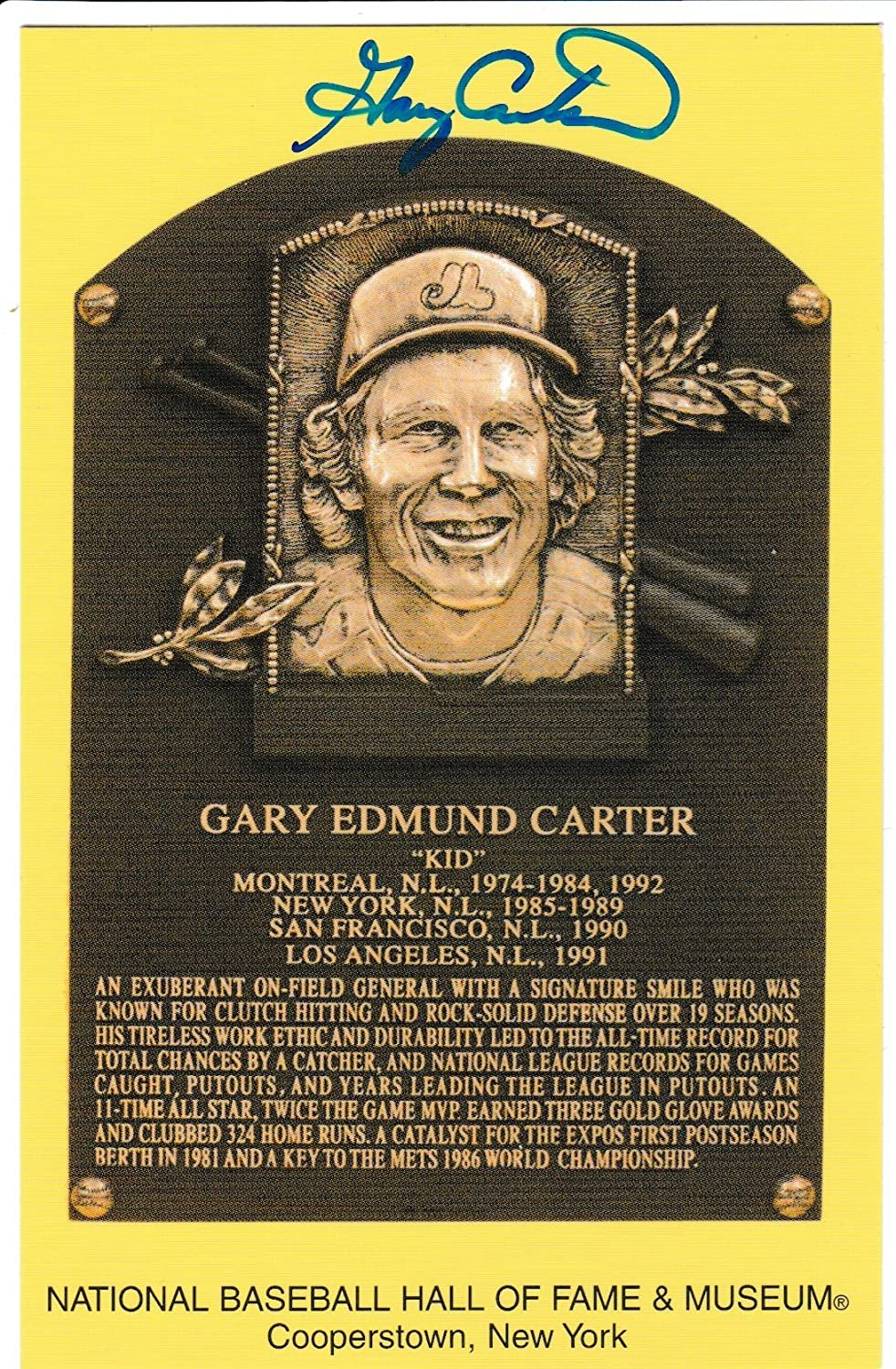 Autographed Gary Carter Hall Of Fame Gold Plaque