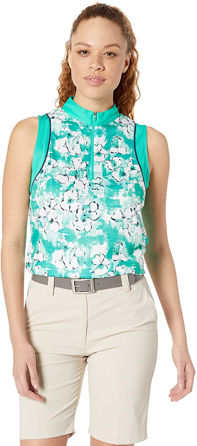 PGA TOUR Womens Sleeveless Water Color Floral Print Top
