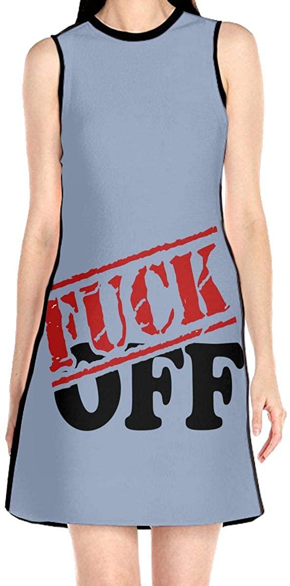 Fuck Off Women's Sleeveless Dress Casual Slim A-Line Dress Tank Dresses