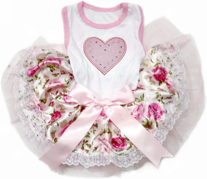Petitebella Pink Heart White Shirt Pink Floral Lace Tutu Puppy Dog Dress