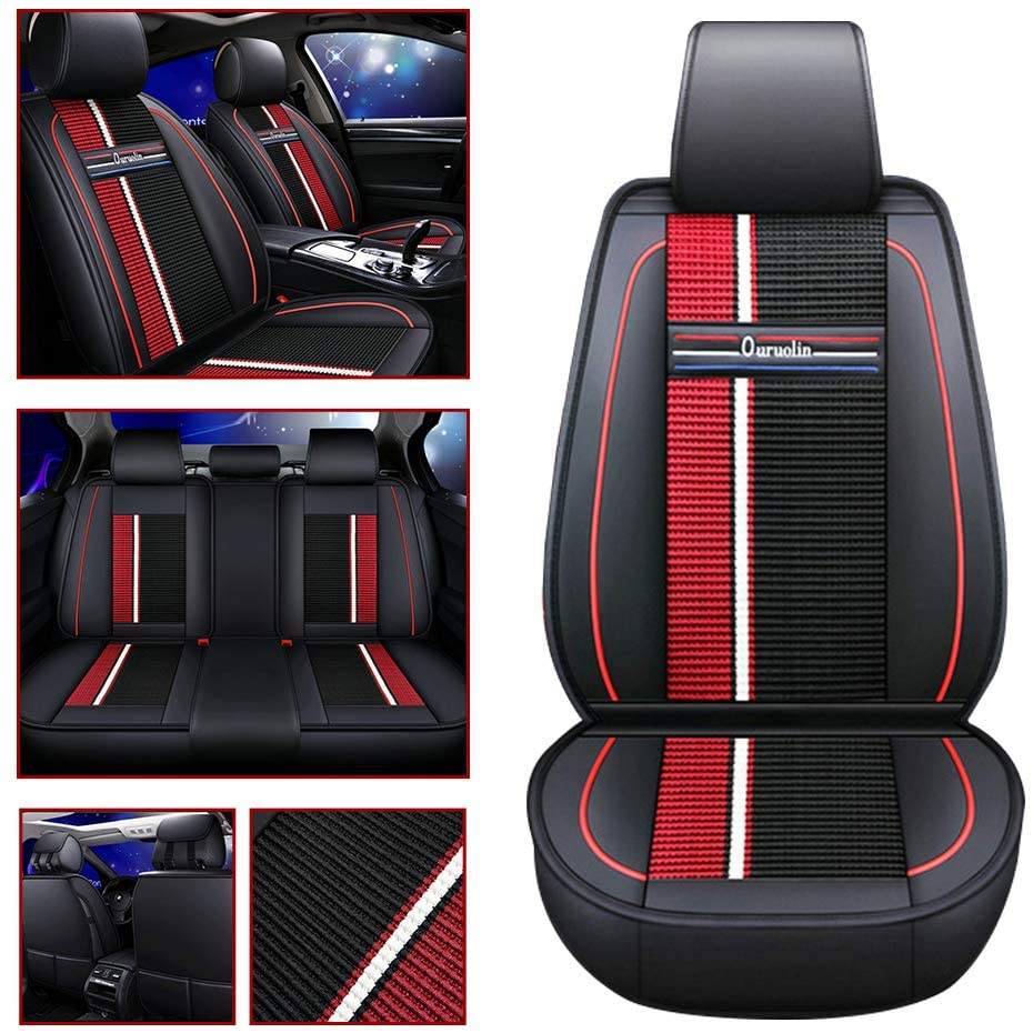 5-SEAT Car Seat Cover for CC Tiguan Touareg Magotan of Driving/Co-pilot/Second Row 3seat Leather Cover Black red
