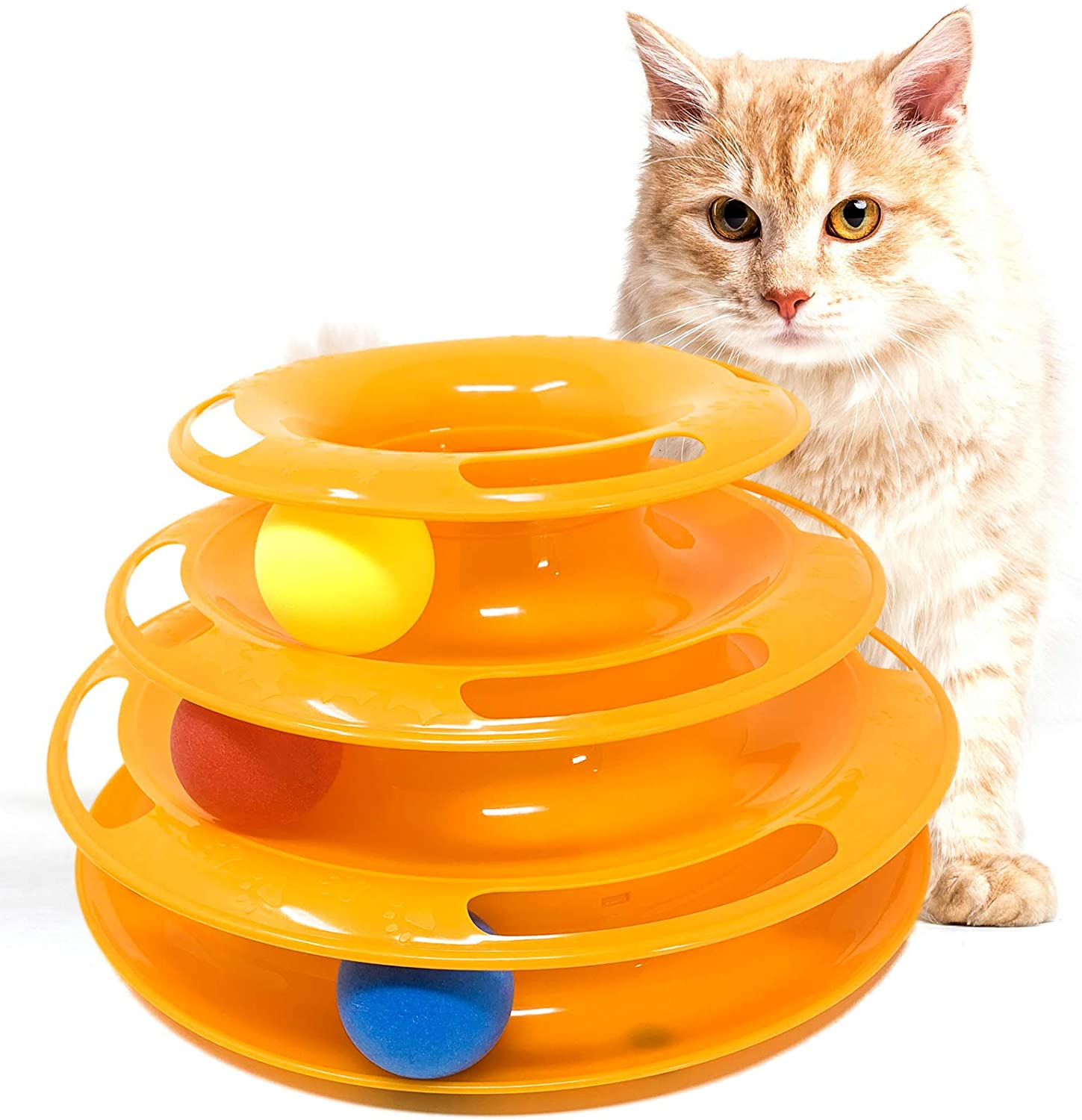 iPrimio Interactive Cat Toy – 3 Level Track Tower with Roller Balls – Strong Holding Grip – Improve Mental Simulation and Physical Play