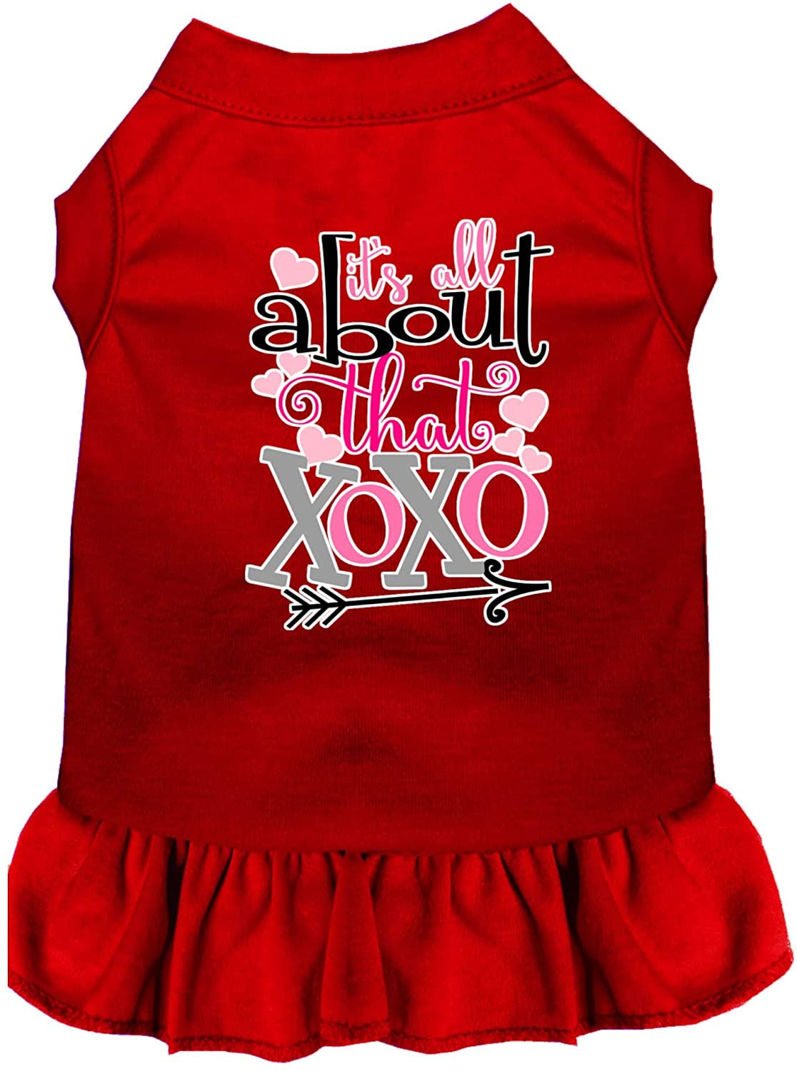 Mirage Pet Product All About The XOXO Screen Print Dog Dress Red XS