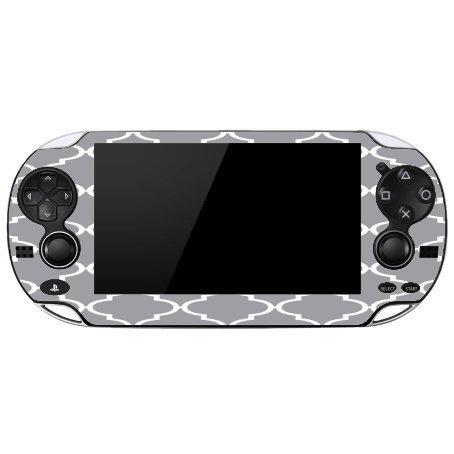 Gray & White Quatrefoil Pattern Art Playstation Vita Vinyl Decal Sticker Skin by MWCustoms by MWCustoms