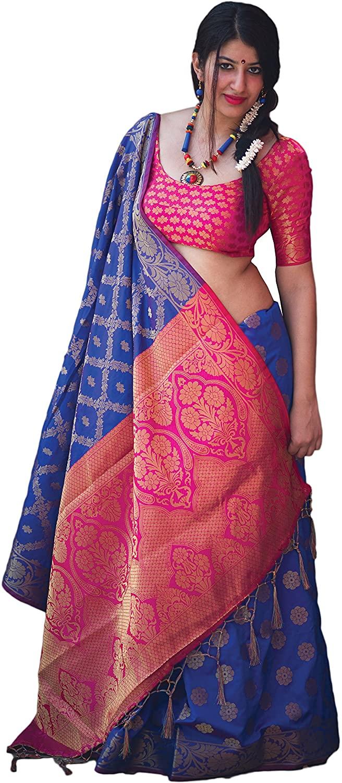 Indian Designer Ethnic Bollywood Traditional Banarasi Silk Saree Sari S3531 Blue