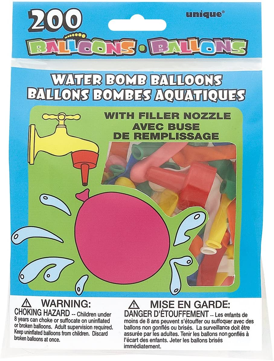 Water Bomb Latex Balloons Assorted Colors, 200 Count