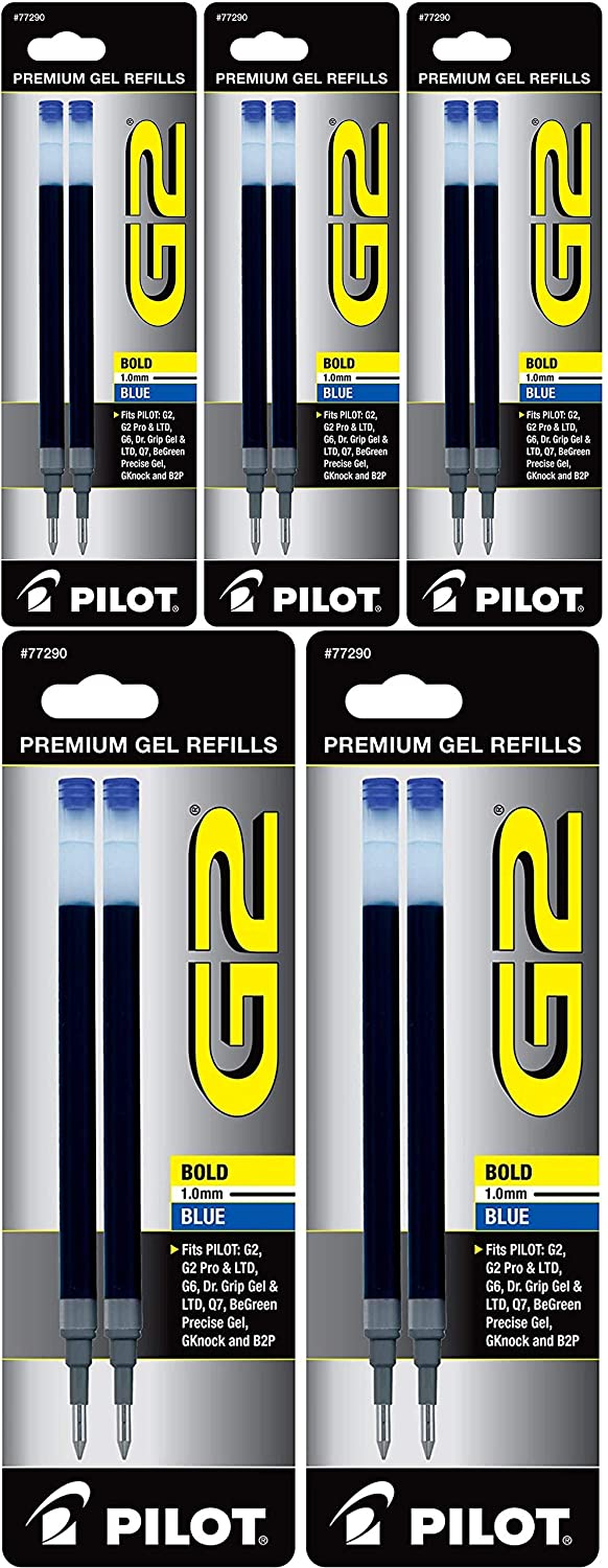 PILOT G2 Gel Ink Refills For Rolling Ball Pens, Bold Point, Blue Ink, (77290), 5 Pack of 2