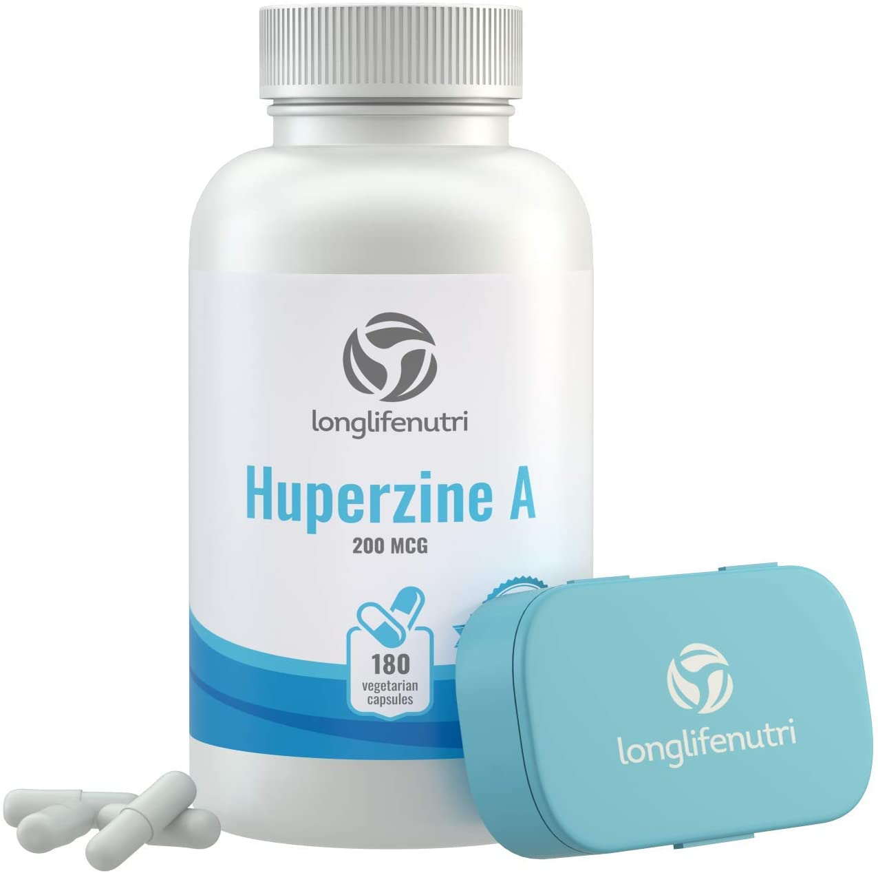 Huperzine A 200 Mcg 180 Vegetarian Capsules | Made in USA | Powerful Nootropic Brain Complex | Cognitive Function Enhancer Supplement | Memory Focus Clarity Mental Booster | 200mcg Pure Powder Pill