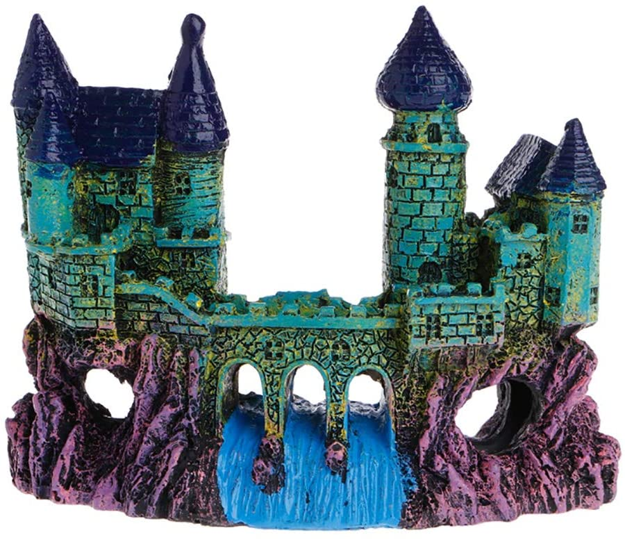 PIVBY Castles Aquarium Ornament Resin Mythical Magic Castles Decorations Fish Tank Aquatic Caves Hide Hut