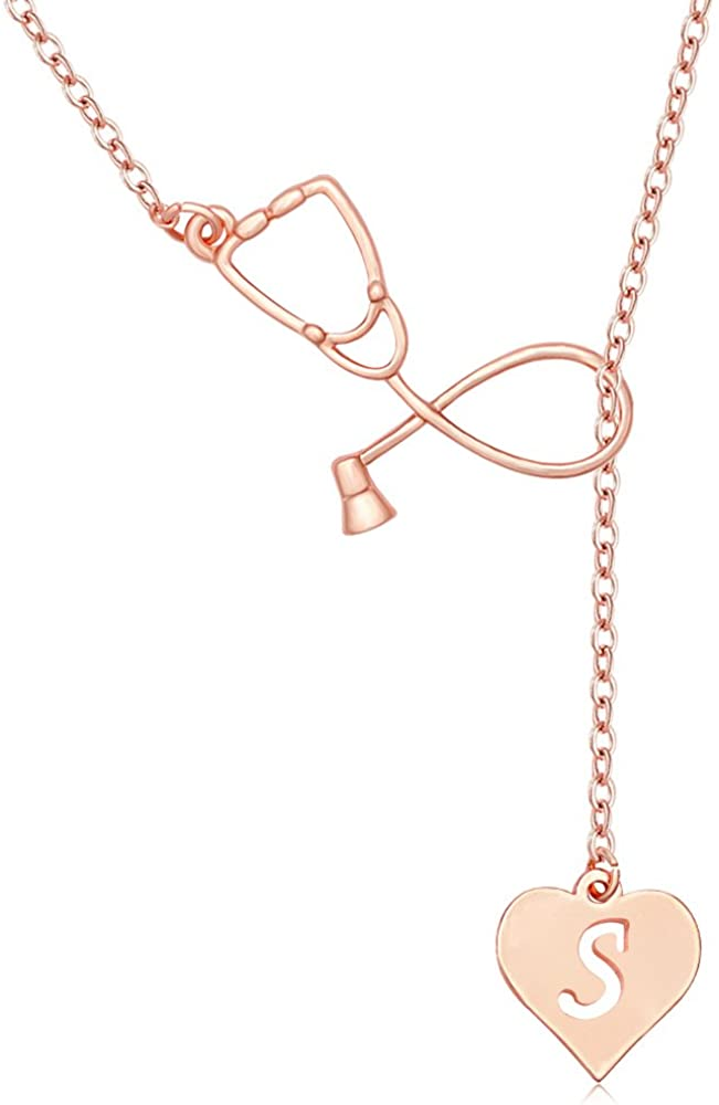 MANZHEN Rose Gold Plated Medicine Stethoscope Heart Initial Alphabet Letter Necklace for Doctor Nurse
