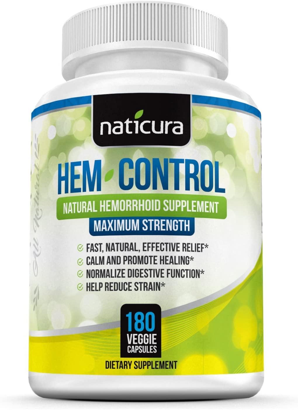 Hem-Control Natural Hemorrhoid Treatment Supplement - Fast & Lasting Pain Relief Pills - Vegan Capsules for Hemroid & Colon Health with Blond Psyllium Husk (180)