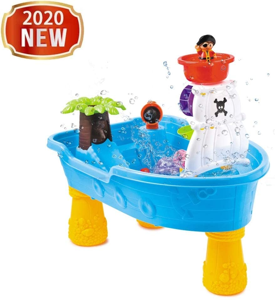 Pirate Ship Water Tables - Colorful Kids Water Play Table - Outdoor Toys For Toddlers Age 2-4 - Sand Water Table Center, Kids Water Play Table Toys, 2-in-1 Children Square Summer Seas Waterpark