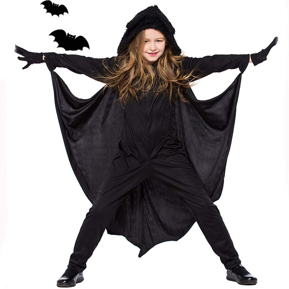 CQDY Kids Bat Jumpsuit Halloween Cosplay Costume for Boys Girls with Gloves Children Unisex Vampire Party Suits