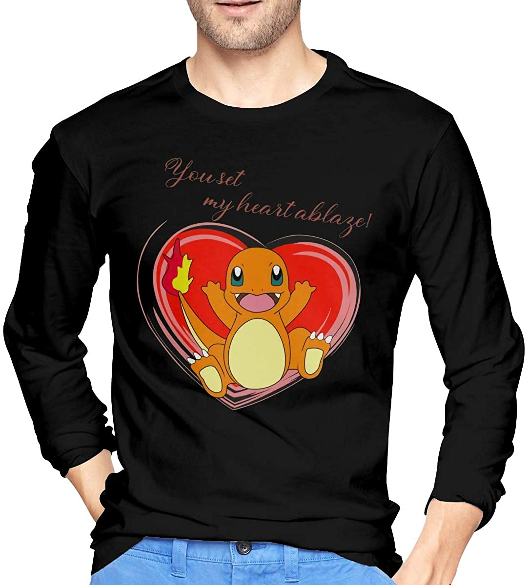 Mans Monster of The Pocket Love Charmander Long Sleeve T Shirt