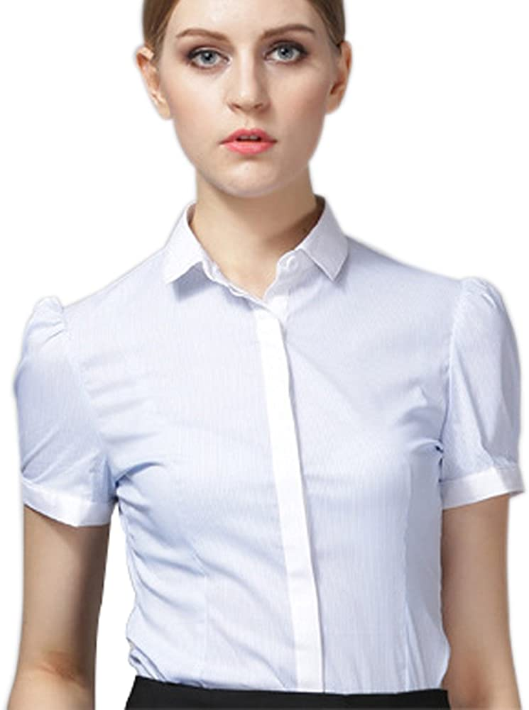 ZAMME Women's Office Lady Classic Summer Work Slim Shirt