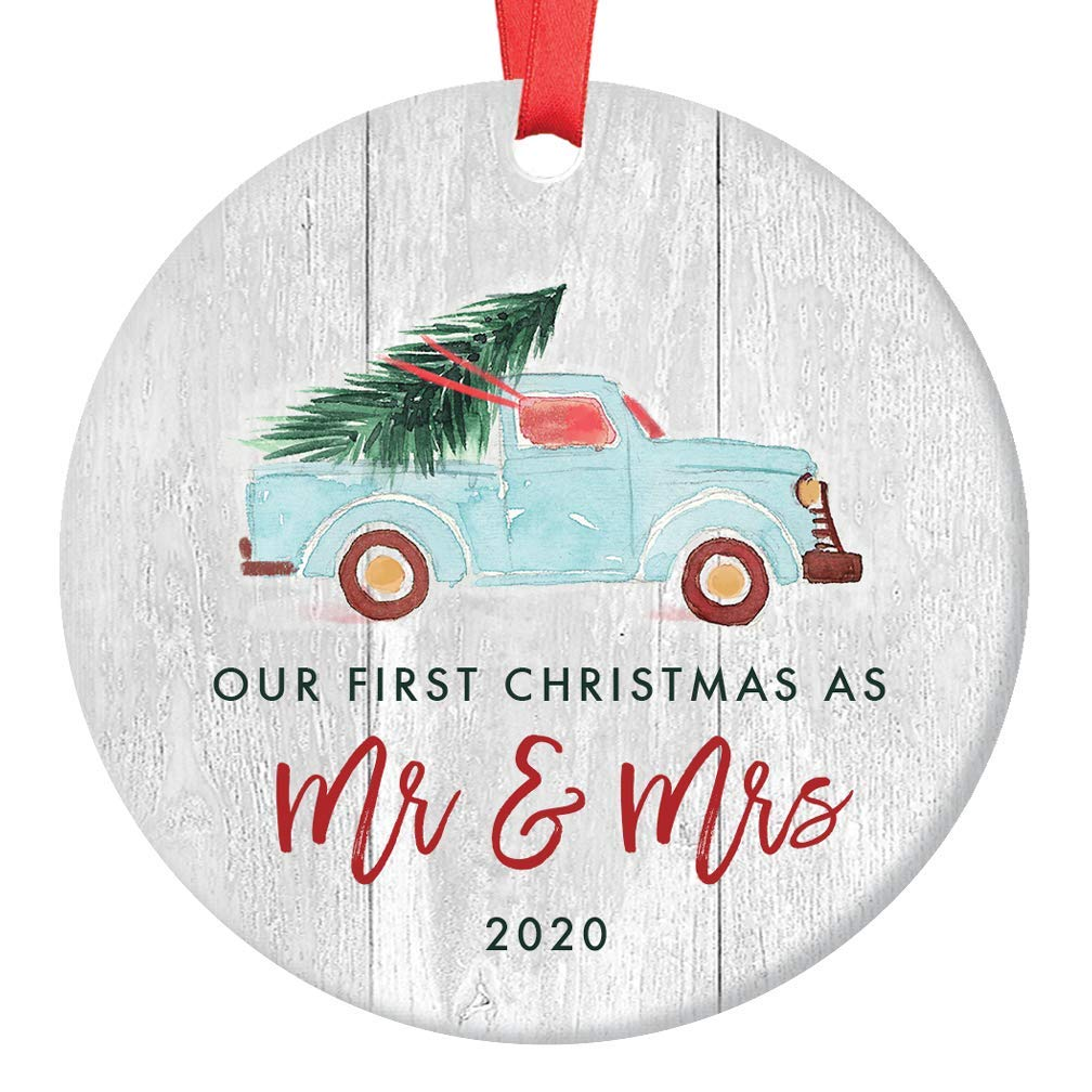 Newlywed Christmas Ornament 2020 First Christmas Mr & Mrs Bridal Shower Wedding Gift Idea Rustic Holiday Tree Ceramic Country Farmhouse Keepsake 3