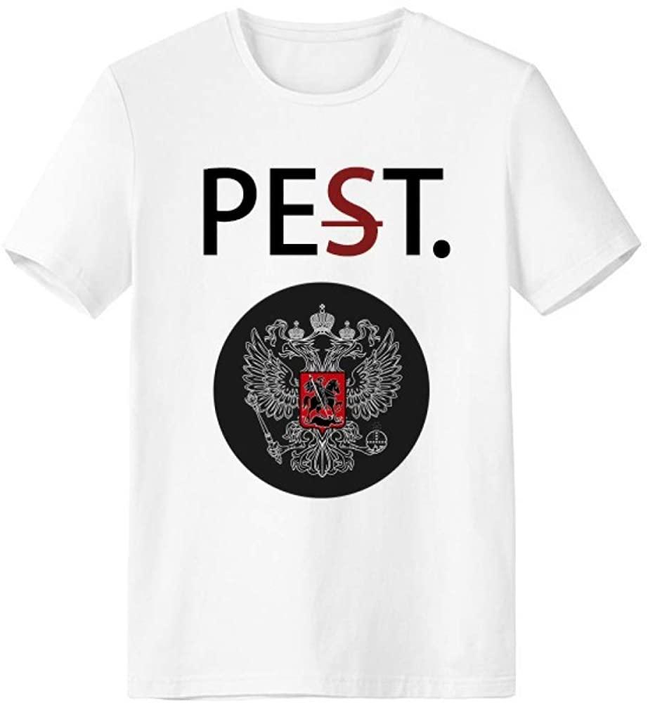 Russia National Emblem Country Pet But Not Pest White T-Shirt Short Sleeve Crew Neck Sport