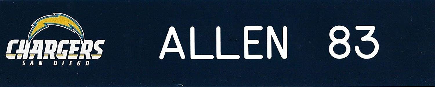 Torrence Allen Game Used 2014 2015 2016 Chargers Football Locker Name Plate #83 - NFL Game Used Footballs